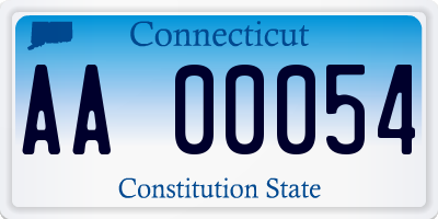 CT license plate AA00054