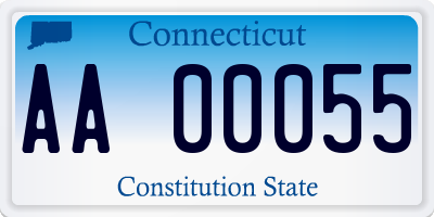 CT license plate AA00055
