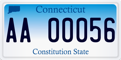 CT license plate AA00056