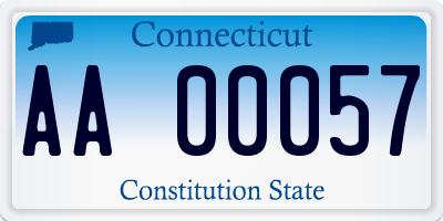 CT license plate AA00057