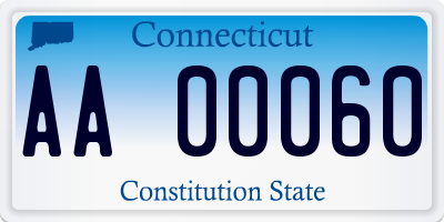 CT license plate AA00060