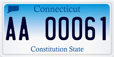 CT license plate AA00061