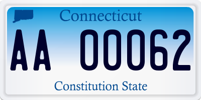 CT license plate AA00062