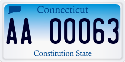 CT license plate AA00063