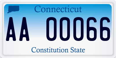 CT license plate AA00066