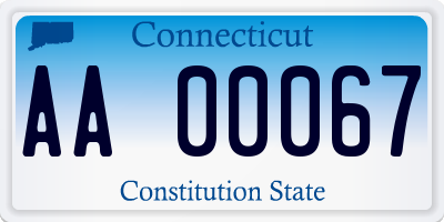 CT license plate AA00067