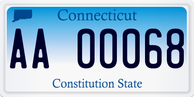 CT license plate AA00068