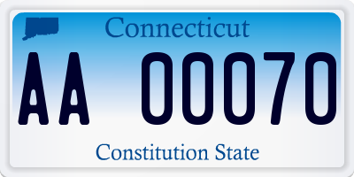 CT license plate AA00070