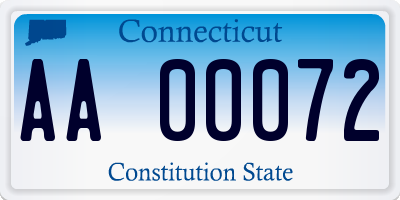 CT license plate AA00072