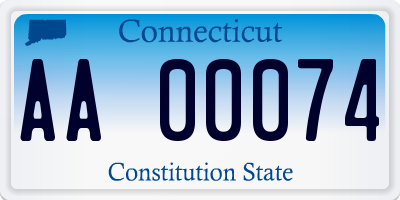 CT license plate AA00074