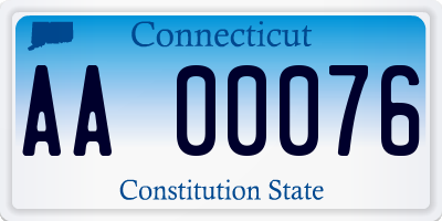 CT license plate AA00076
