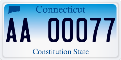 CT license plate AA00077
