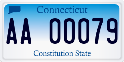 CT license plate AA00079