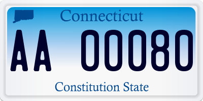 CT license plate AA00080