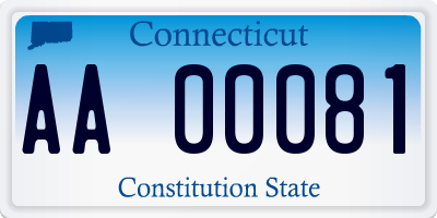 CT license plate AA00081