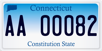 CT license plate AA00082