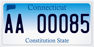 CT license plate AA00085