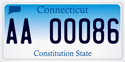 CT license plate AA00086