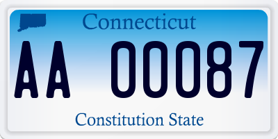 CT license plate AA00087
