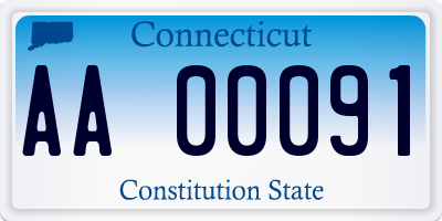 CT license plate AA00091