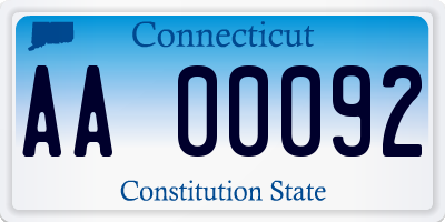 CT license plate AA00092