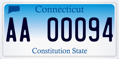CT license plate AA00094