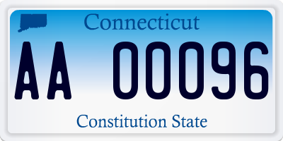 CT license plate AA00096