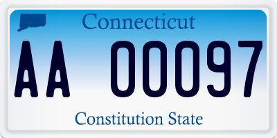 CT license plate AA00097