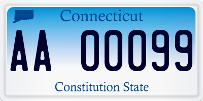 CT license plate AA00099