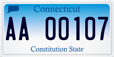 CT license plate AA00107
