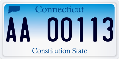 CT license plate AA00113