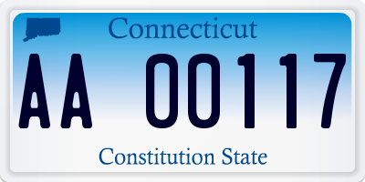 CT license plate AA00117