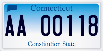 CT license plate AA00118