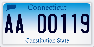 CT license plate AA00119