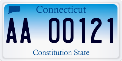 CT license plate AA00121