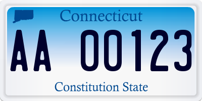 CT license plate AA00123