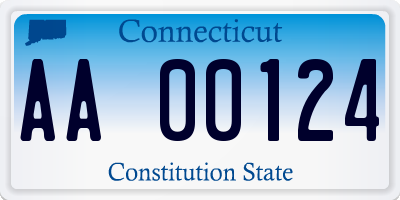 CT license plate AA00124