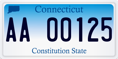 CT license plate AA00125