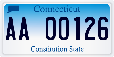 CT license plate AA00126