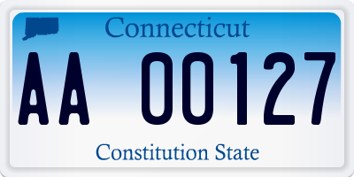 CT license plate AA00127