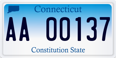 CT license plate AA00137