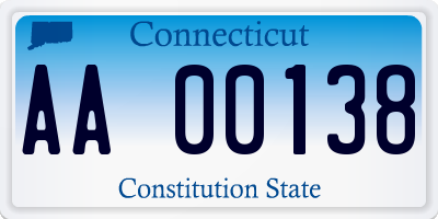 CT license plate AA00138