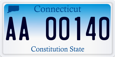 CT license plate AA00140