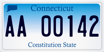 CT license plate AA00142