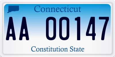 CT license plate AA00147