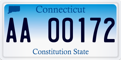 CT license plate AA00172