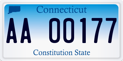 CT license plate AA00177