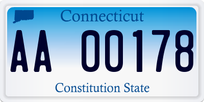 CT license plate AA00178