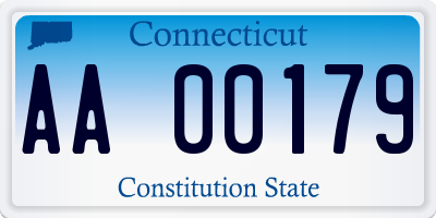 CT license plate AA00179