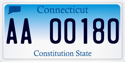 CT license plate AA00180